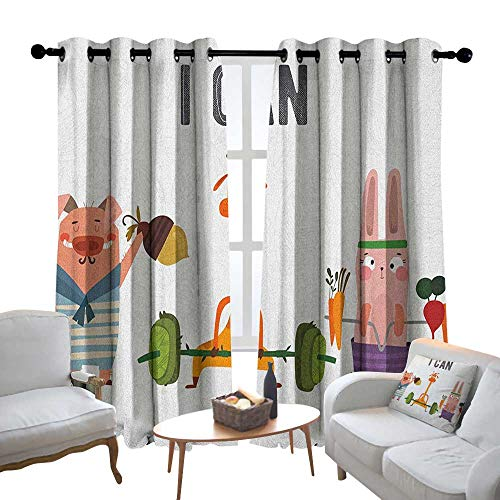 Lewis Coleridge Blackout Lined Curtains Fitness,Cute Pig Rabbit and Giraffe Exercise Summer is Coming Fitness Motivation Yes I Can, Multicolor,Thermal Insulated,Grommet Curtain Panel Set of 2 54