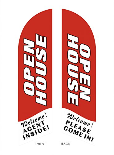 Open House Feather Flag Kit (Double Sided Flag) (Red)