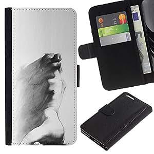 BearCase / Cuero de la tarjeta la carpeta del tirón Smartphone Slots Protección Holder /// Apple Iphone 6 PLUS 5.5 /// Carbón Arte Pintura triste gris