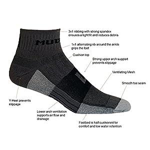 MudGear Trail Running Socks for Men and Women - 2 Pair Pack (Gray/Black, Large)