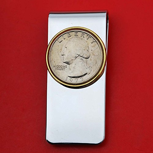 US 1977 Washington Quarter BU Uncirculated Coin Solid Brass Gold Silver Two Tone Money Clip New - High Quality (1977 Washington Quarter)