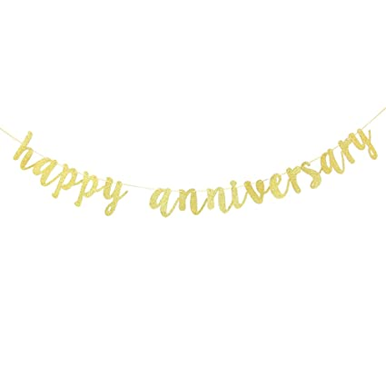 amazon com innoru happy anniversary banner gold glitter birthday