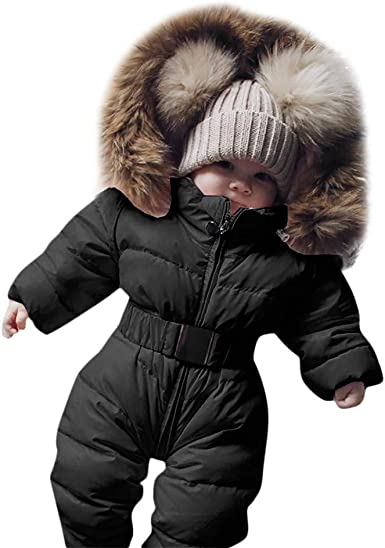 Toddler Baby Winter Romper Jumpsuit  Down Cotton Coat Warm Hooded Outerwear