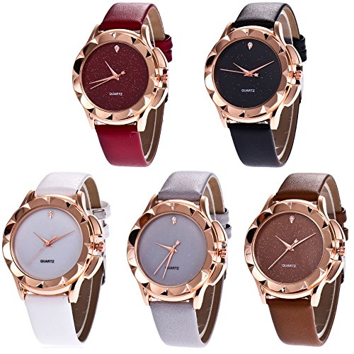 CdyBox Wholesale PU Leather Crystal Watch 5 Pack Rhinestone Starry Sky Wristwatches for Women Girls Gift from CdyBox