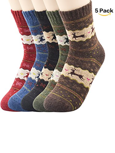 The Young Victoria Costumes (Zando Athletic Thin Warm Socks Patchwork Printed Patterned Knit Wool Mid Calf Socks for Women Girls 5 Pairs Christmas Deer Shoe Size 6-11)