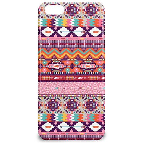 Phone Case For Apple iPhone 5C - Candy Rainbow Aztec Tribal Geometric Hardshell Wrap-Around