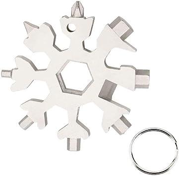 18-in-1 Schneeflocken Fahrrad Multi-Tool Karte Schlüsselanhänger Flaschenöffner
