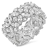 Sterling Silver Multi-Cut Cubic Zirconia Eternity Ring, Size 10