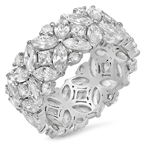 Parade of Jewels Sterling Silver Multi-Cut Cubic Zirconia Eternity Ring, Size 9