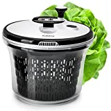 Large 5L Salad spinner with bowl , lockable colander basket and smart lock lid - Lettuce washer and dryer - easy water drain system and compact storage by Fullstar