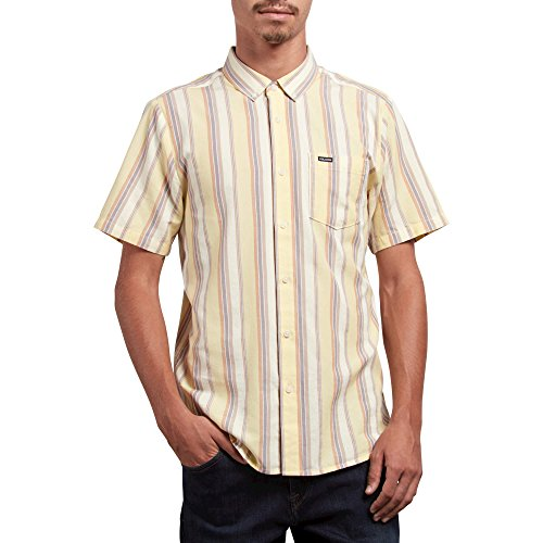 Volcom Men's Multi Toner Woven Button up Vintage Inspired Shirt, Acid Yellow, (Button Up Woven Sport Shirt)