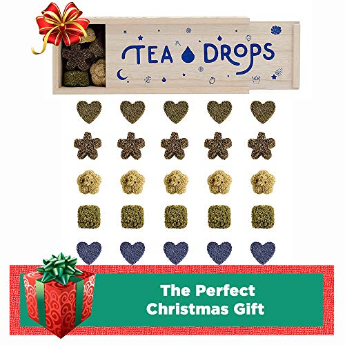 Sweetened Organic Loose Leaf Tea | Deluxe Herbal Sampler Assortment Box | Instant Pressed Teas Eliminate the Need for Teabags and Sweetener | Tea Lovers Gift | Delicious Hot or Iced | By Tea Drops