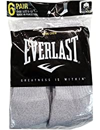 6 Pair Men's Cotton Crew Socks Pack - EVERLAST - Shoe Size 6-12