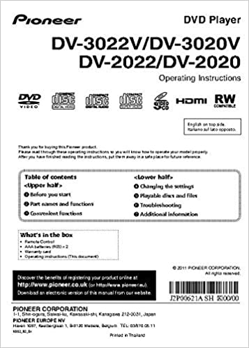 Best Dvd Player 2020 Pioneer DV 2020 DVD Player Owners Instruction Manual Reprint