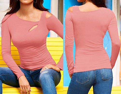 Fashion Freestyle Chemisiers Automne Printemps Shirts Chic et Tops Slim Blouse T Hauts Manches Femmes Oblique paule Tee Shirts Jeune Jumpers Longues Rose qZqrEP