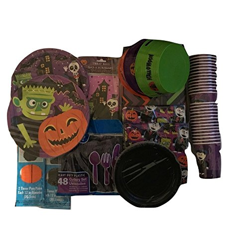 Decorate Your Home, Classroom or Event with this Halloween Party Bundle, Cups, Table Cloth, Frankenstein Napkins, Utensils, Plates, (Halloween Frankenstein Snacks)