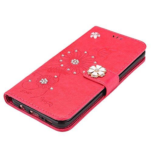 iPhone 6S Plus Hülle,iPhone 6 Plus Hülle,SainCat Retro 3D Schmetterling Blumen Muster Ledertasche Handyhülle Brieftasche im BookStyle,Glänzend Glitzer Strass Diamant PU Leder Hülle Wallet Case Folio S Strass Rot