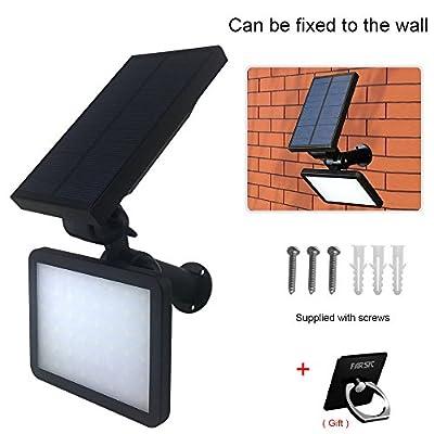 FARSIC 48 LED Solar Lights Spotlight Outdoor Landscape Lighting Waterproof Wall Adjustable Light for Night Security and Lawn Lamp Bright (White Light) + Bonus Phone Ring Holder