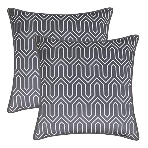BRAWARM Pack of 2 Cozy Fleece Throw Pillow Covers Cases for Couch Bed Sofa Vintage Chevron Geometric Figure with Piping Both Sides for Home Decoration 18 X 18 Inches Charcoal Gray