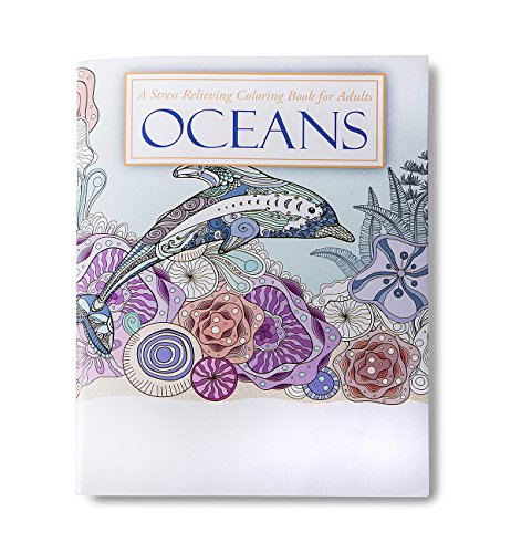 OCEANS Adult Coloring Books (2 Pack) - 24 Relaxing Ocean Designs to Color by Safety Magnets