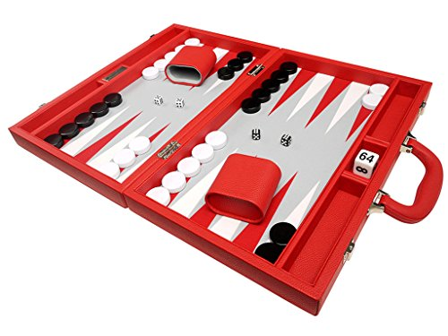 (16-inch Premium Backgammon Set - Medium Size - Red Board)
