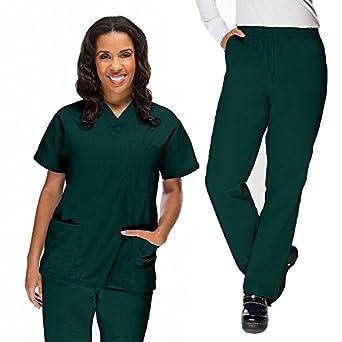 0d97810cf29 Basics By Allheart Women's 3 Pocket Scrub Top & Elastic Waist Scrub Pant Set