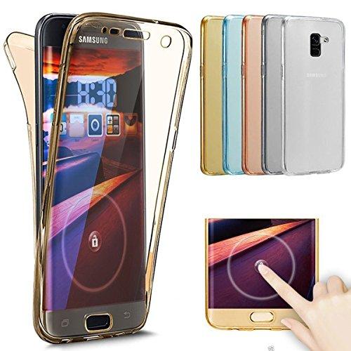 Galaxy A8 Plus 2018 Hülle,SainCat 360° Full Body Coverage Protective 360 Grad TPU Hülle Vorne und Hinten Komplette Handyhülle Vorderseite + Rückseite Beidseitiger Schutzhülle Stoßdämpfende Transparent Gold