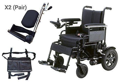 "Drive Medical CPN22FBA-E Cirrus Plus EC Folding Power Wheelchair, 22"" Seat Width Upgrade With 1 Pair Of Elevating Leg Rests & A FREE OPCTM Black Medical Utility Bag"