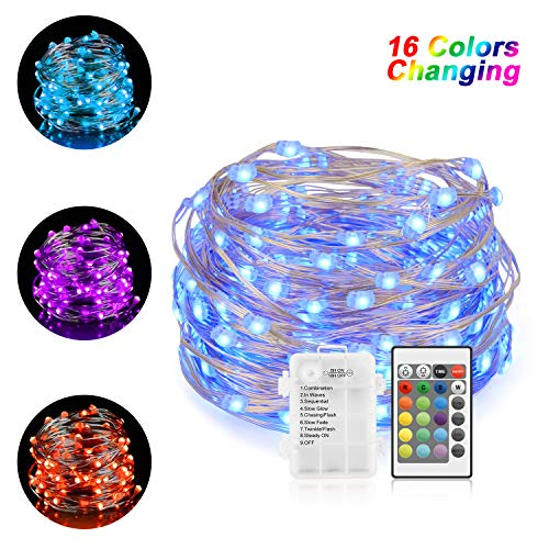 (Chalpr Battery String Lights, 16.4 ft 50LEDs Multi Color Changing String Lights with Remote Control, Waterproof Silver Wire Twinkle Lights for Bedroom, Wedding, Parties, Patio, Outdoor Gar)
