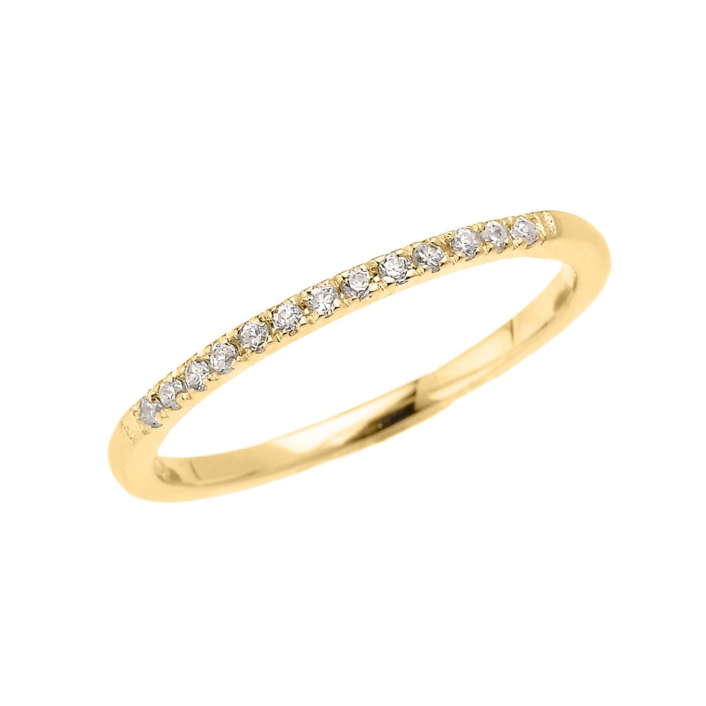 10k Yellow Gold Dainty Diamond Stackable Ring(Size 11)