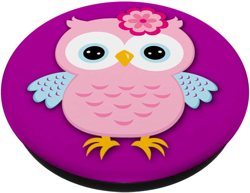 Rose Pink Owl Cute Nocturnal Animal Floral Bird Lover Gift PopSockets Support et Grip pour Smartphones et Tablettes