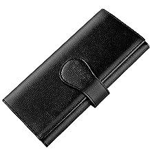Luxspire RFID Blocking Women Lady Wallet Long Handbag Large Capacity Genuine Leather Clutches Bifold Multi Card Holder Organizer Ladies Purse, Black