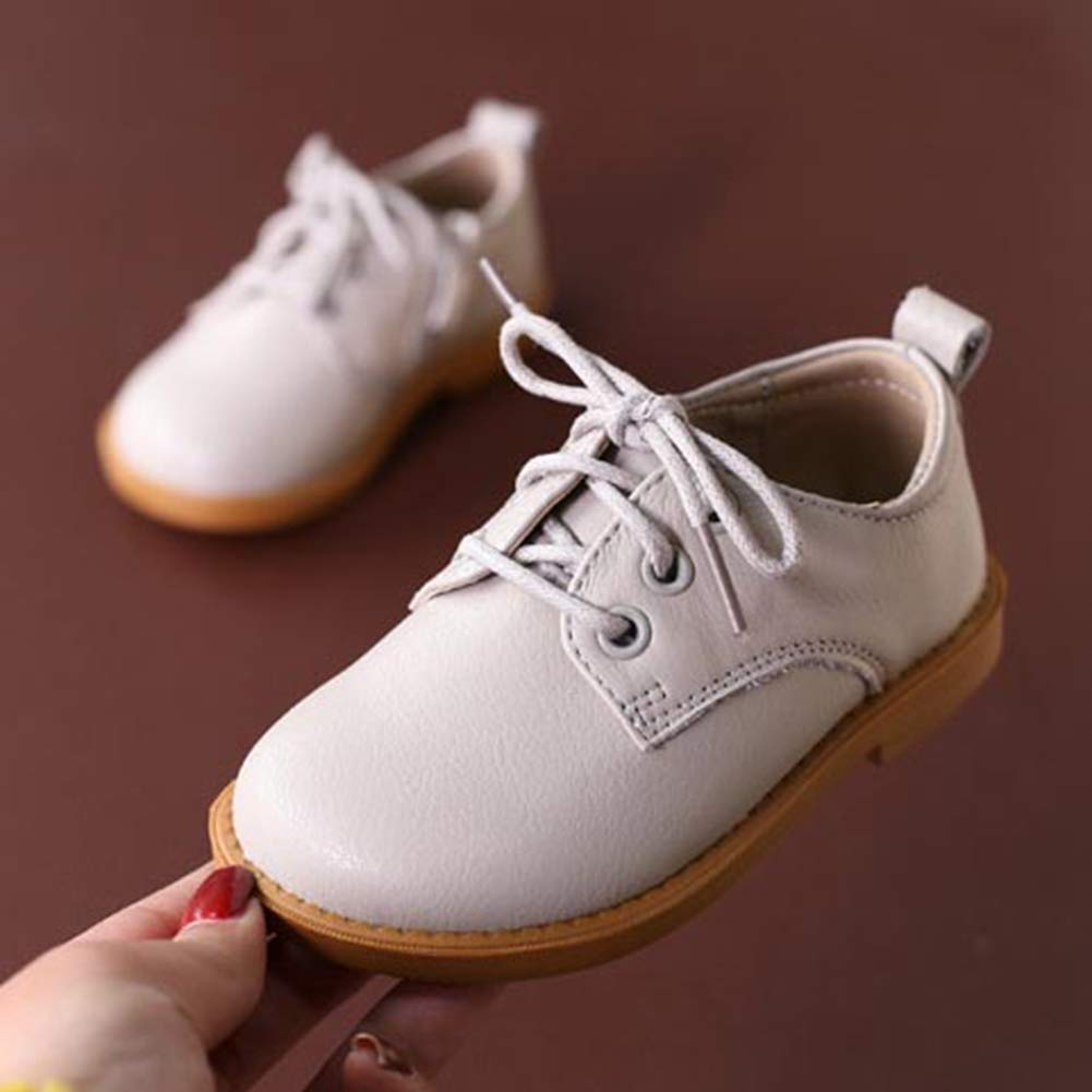 F-OXMY Toddler Boys Side Zip Lace-up Oxfords Dress Shoes Comfort Non-Slip Outdoor Walking Casual Shoes