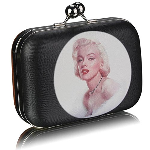 Bags Wedding Prom Night Clutch For Out Women's Purses CWE00290 Marilyn Monroe Party Paris BROWN Kisslock LeahWard Print Evening nYBzvIz