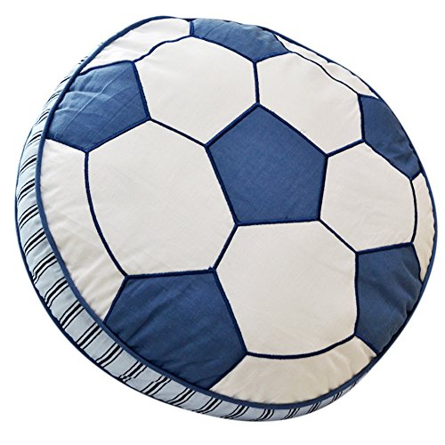 Trycooling Purified Cotton Throw Pillow for Home Office Sofa Stuffed Toys Back Cushion Creative Doll White and Blue Soccer for Kids