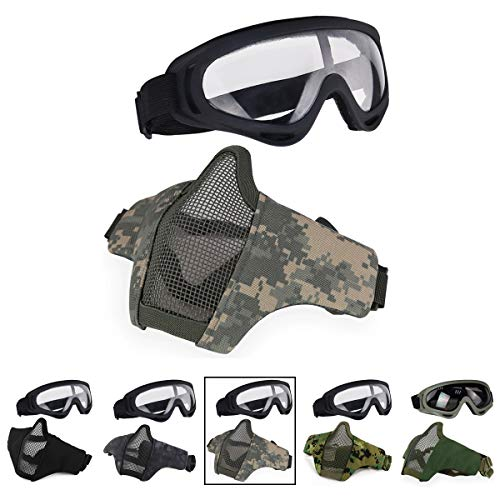 Aoutacc Airsoft Half Face Mesh Mask and Goggles Set for CS/Hunting/Paintball/Shooting (ACU)]()
