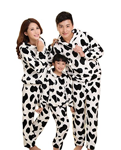 Auspicious beginning Parent-Child Cow Sleepwear Cute Family Flannel Pajamas