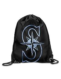 Seattle Mariners Black Pond Logo GYM Drawstring Backpack Bag