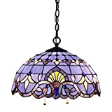 Tiffany Hanging Lamp 16 Inch Pull Chain Blue Purple Baroque Stained Glass Lampshade Anqitue Style Pendant 2 Light Fixture for Dinner Room Living Room Bedroom S003C
