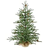 By Vickerman 2.5' Carmel Pine Artificial Christmas Tree with Pine Cones in Burlap Base - Unlit