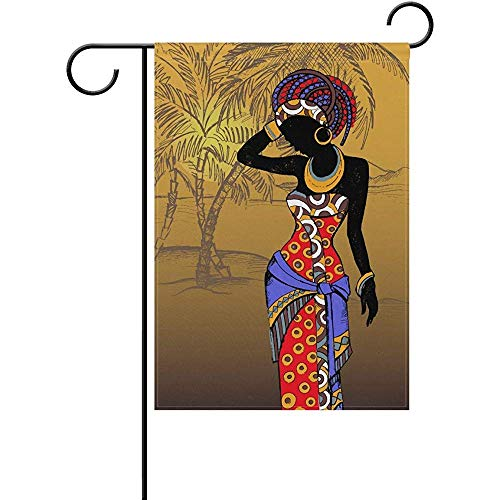 (Sandayun88x Garden Flags Hello Beach Bohemian African Indian Women Palm Trees Garden Flag House Banner 12 x 18 inch, Winter Happy New Year Decorative Flag for Party Yard Home Outdoor Decor)