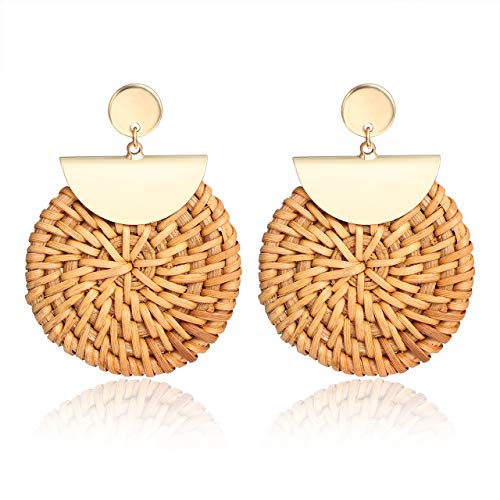 - BSJELL Rattan Straw Earrings Handmade Braid Weave Big Round Drop Earrings Bohemian Wicker Large Hoop Earrings for Women (Round)