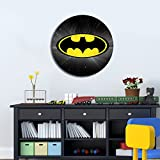 LaModaHome Comics MDF Wall Art - Dark Batman Symbol on Yellow, Kids, Movies, Cartoon - Ready to Hang Painting, Diameter (15.7'') - Wall Hanging for Living Room, Bedroom, Dorm