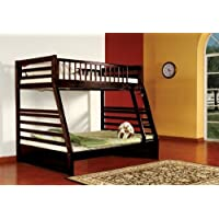 Kings Brand Furniture Twin over Full Bunk Bed Espresso Finish Wood