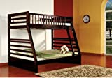 twin over full espresso bunk bed - Kings Brand Furniture Twin over Full Bunk Bed Espresso Finish Wood