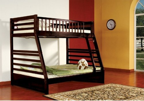 Kids Full Wood - Kings Brand Furniture Twin over Full Bunk Bed Espresso Finish Wood