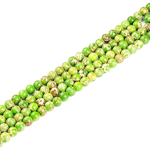 Natural Emperor Stone Round Scattered Beads - DIY Handmade Beaded Jewelry Accessories for Bracelet Necklace Earrings (Green fruit, 8mm)