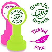 Tickled Pink & Green For Growth - Round Design, 2 Teacher Stamp Set. Pink and Green Ink