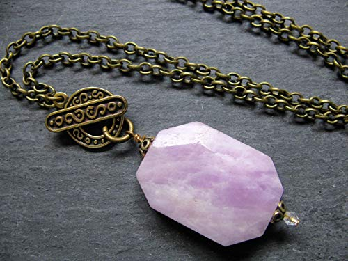 Lavender Purple Large Kunzite Natural Stone Pendant Necklace Raw Gemstone Jewelry Gift Ideas for Women Her