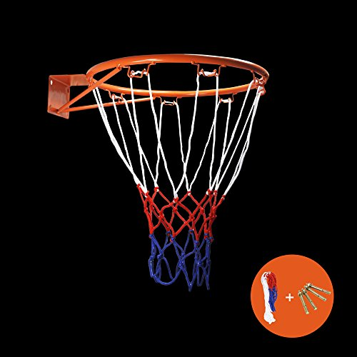 Lifetime Rim (ZUINIUBI Collapsible Wall Mounted Hanging Basketball Goal Hoop Rim Metal Netting 32cm/12.6